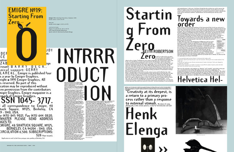 <i>Emigre No. 70</i>, book spread showing images from issue no. 19