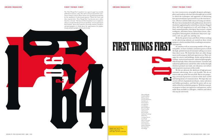 <i>Emigre No. 70</i>, book spread showing reprints from issue no. 49