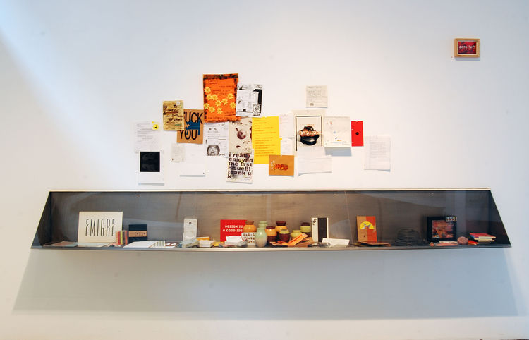 """A display from the <i>Emigre at Gallery 16</i> exhibition, on view at <a href=""""http://www.gallery16.com"""">Gallery 16</a> through January 29, 2010. Image courtesy of Gallery 16."""
