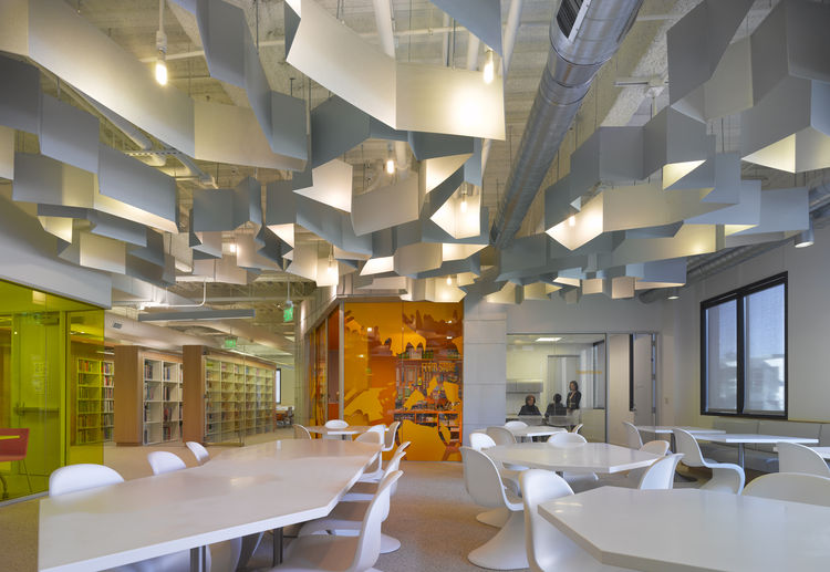 "The FIDM San Diego Campus in San Diego, California. Designed by Clive Wilkinson Architects. Winner of the 2011 Institute Honor Award for Interior Architecture. Project description: ""While efficiency required the grouping of the various program areas, the"