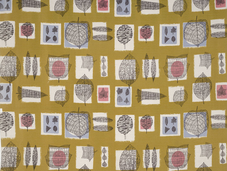 "Fall, (detail), 1952. Lucienne Day. Manufactured by Edinburgh Weavers. Jill A. Wiltse and H. Kirk Brown III Collection of British Textiles. On display at the Textile Museum in Washington, DC, May 15-September 12, 2010, as part of the exhibit <i><a href=""h"