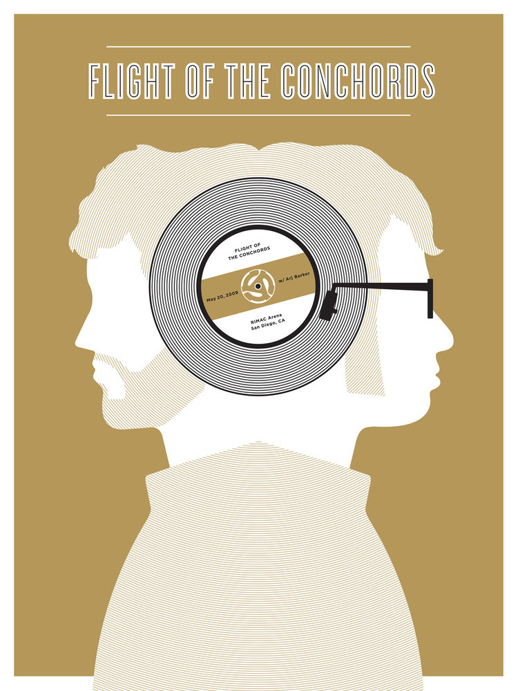 Poster for Flight of the Conchords with Arj Barker (2009) by Jason Munn. Two-color silk screen. 18 x 24 inches. From <i>The Small Stakes: Music Posters</i> published by Chronicle Books.