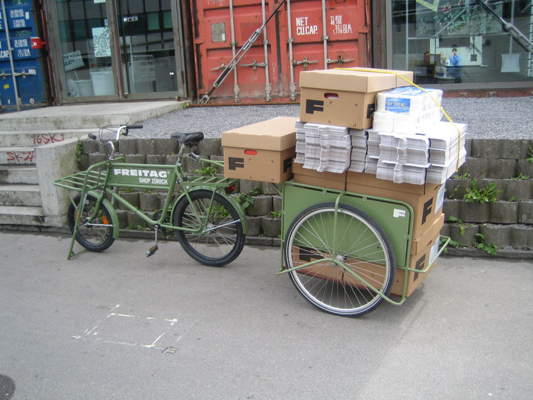 Bags usually make their way to the shop by bicycle, Freitag's favorite mode of transportation.