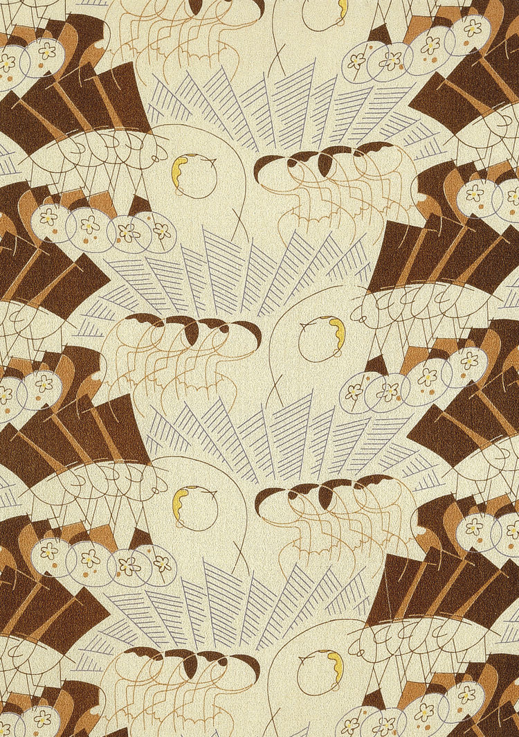 <i>Gentlemen Prefer Blondes</i>, dress fabric. Ralph Barton/Stehli Silks Corporation. Crêpe de Chine. USA, 1927 (V&A: T.87L-1930). From <i>V&A Pattern Series II: Novelty Patterns</i> published by V&A Publishing and Abrams Books.