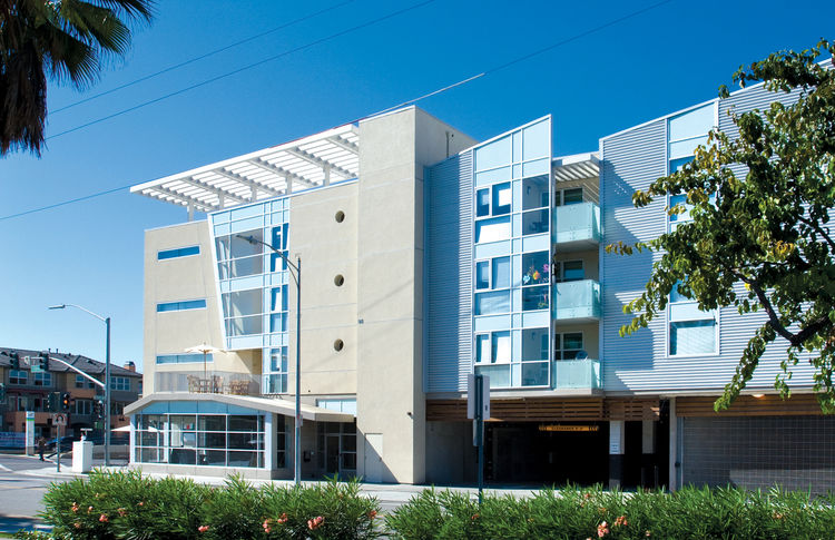 "Gish Family Apartments (exterior view) in San Jose, California, by <a href=""http://www.ojkarch.com"">The Office of Jerome King Architecture and Planning</a>. Photo by Bernard André Photography."