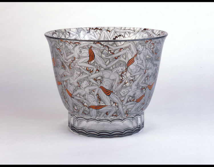 Glass-and-enamel vase attributed to designer Adolf Hegenbarth in 1925 for the State Technical School for Glass in Steinschönau, Czechoslovakia.