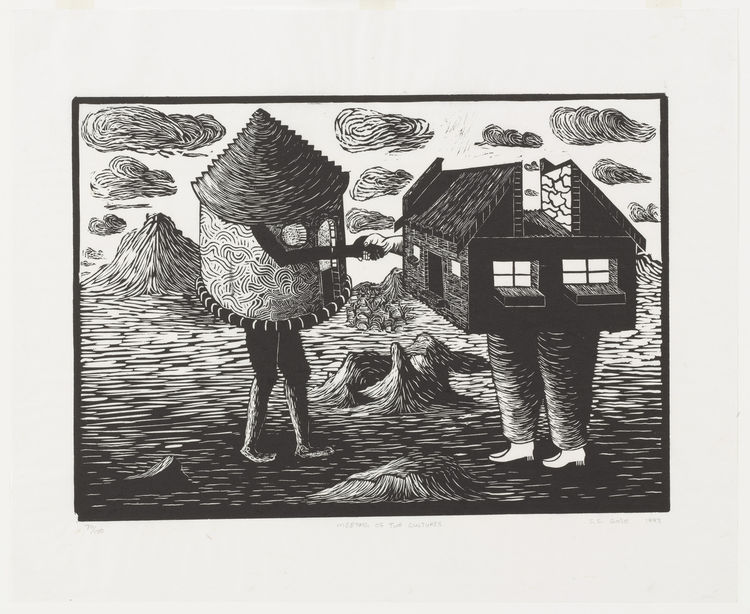 "Sandile Goje. (South African, born 1972). <i>Meeting of Two Cultures</i>. 1993. Linoleum cut, block: 13 3/4"" × 19 5/8"". Image courtesy MoMA."