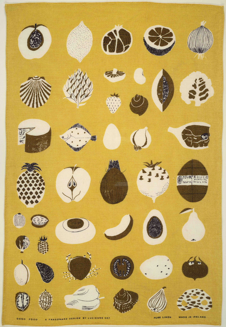 Good Food Glass Towel, (detail), ca. 1961-1962. Lucienne Day. Manufacturer unknown. Jill A. Wiltse and H. Kirk Brown III Collection of British Textiles. On display at the Textile Museum in Washington, DC, May 15-September 12, 2010, as part of the exhibit