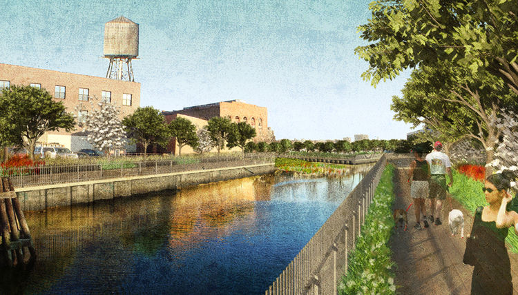"The Gowanus Canal Sponge Park in New York City. Designed by dlandstudio llc. Winner of the 2011 Institute Honor Award for Regional and Urban Design. Project description: ""The Gowanus Canal Sponge Park is a public open space system that slows, absorbs and"