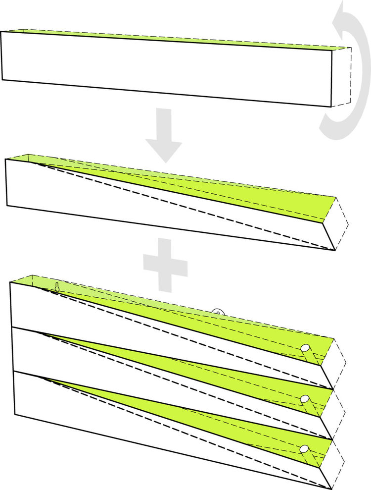 This diagram of the Grass Mirror from H2O Architects shows how the modular units combine to create a planter-mirror wall as large as desired.