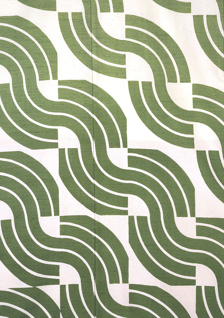 <i>Green Waves</i>, kimono. Moriguchi Kunihiko. Plain weave silk with freehand paste-resist decoration. Kyoto, Japan, 1973 (V&A: FE.420-1992). From <i>V&A Pattern Series II: Kimono</i> published by V&A Publishing and Abrams Books.