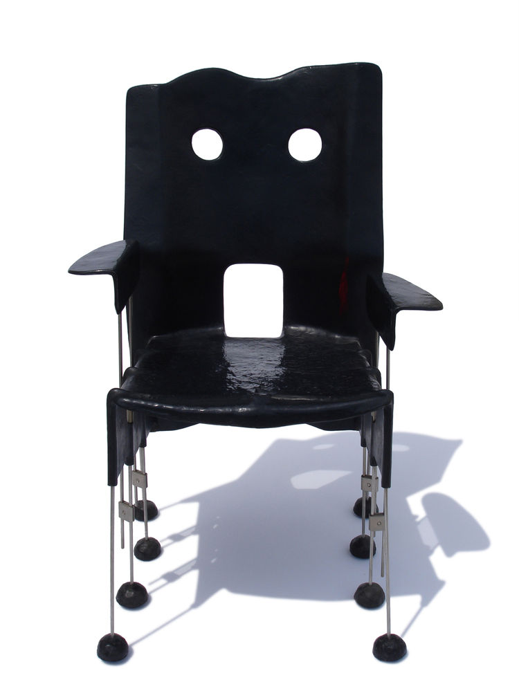 """Pesce's sketches for this Greene Street chair prototype, from 1984, reveal a self-portrait behind the """"face"""" of the chair design."""