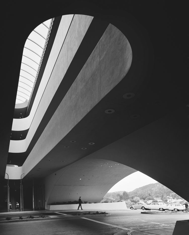 Ezra Stoller's photo of Wright's Marin County Civic Center is stunning still.