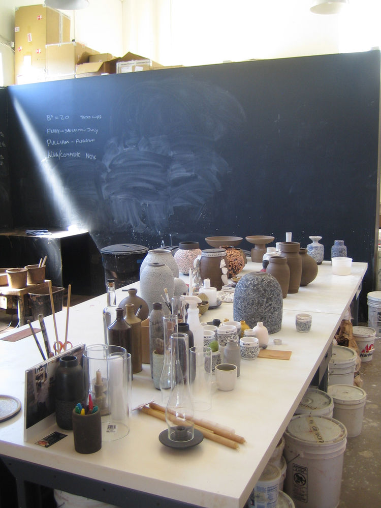 Unlike the Sausalito store, which has the proper Heath factory behind it, the LA iteration has a much smaller and more artisanal studio in the back. It's where Silverman experiments with glazes and colors. I liked the chalkboard walls and busy workstation