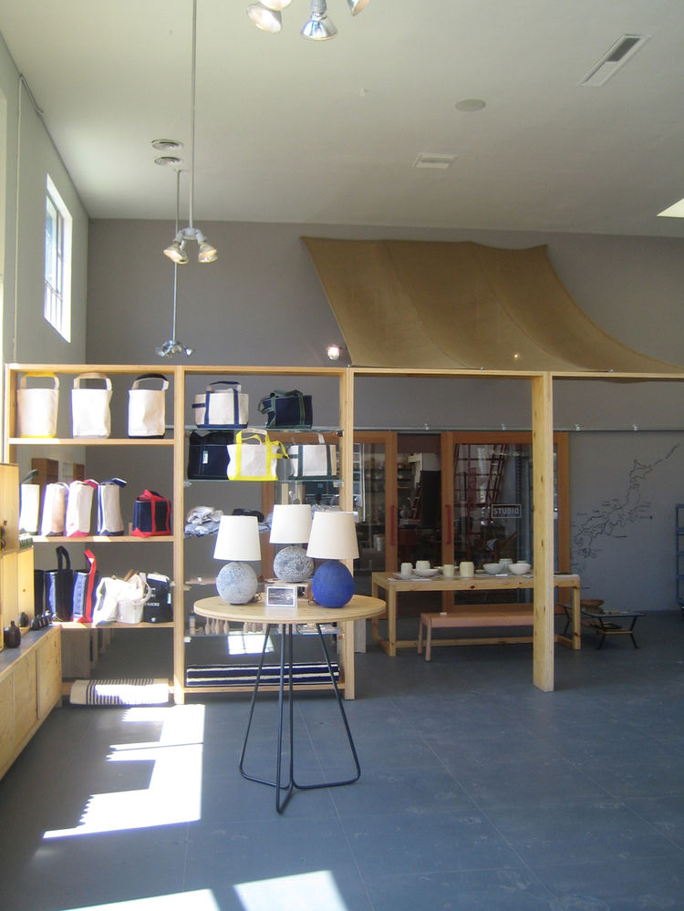 A pretty humble canopy hangs over the entry to the office and workshop in the back. It also helps demarcate a small exhibition space and sets it apart from the rest of the shop. At the moment Heath is showing a curated bunch of goods from the Japanese sto