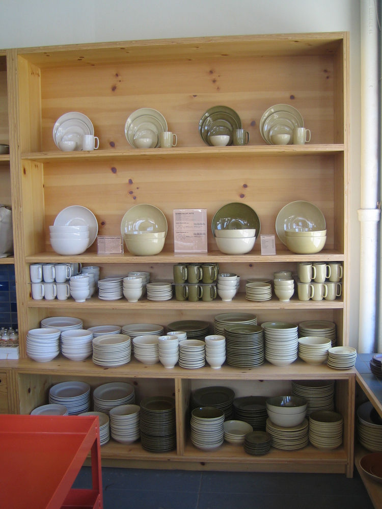 Unlike the Sausalito store, which is much smaller, the LA shop has ample space to display the full range of Heath's wares. Here's a nice look at the Chez Panisse line.