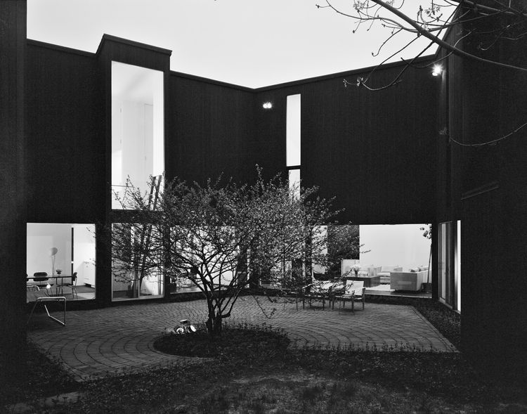 The courtyard of Hisaka's home in Shaker Heights, OH, is awfully dramatic. The house itself is a series of sloped-roof volumes organized around this central open space. Photo courtesy of Thom Abel.