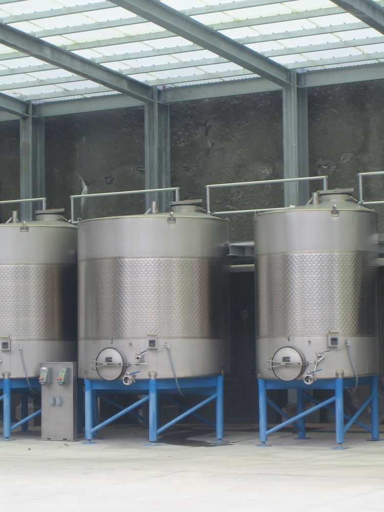 """Smith kept referring to the """"knuckles"""" of Blueline Estate's production, talking about all the processes and apparatus of making wine. I loved the repetition of the forms of these big tanks. They evoke the long rows of grapes, the undulating plastic roof a"""