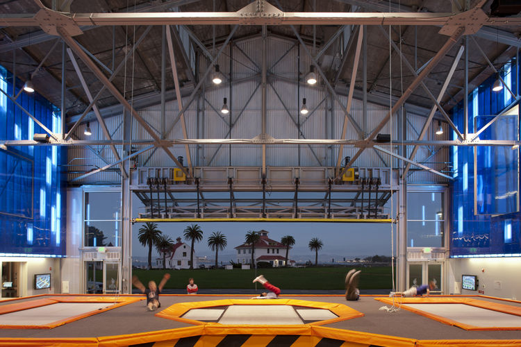 Inside the former biplane hanger, the House of Air is filled with trampolines. It's expected to achieve LEED certification.