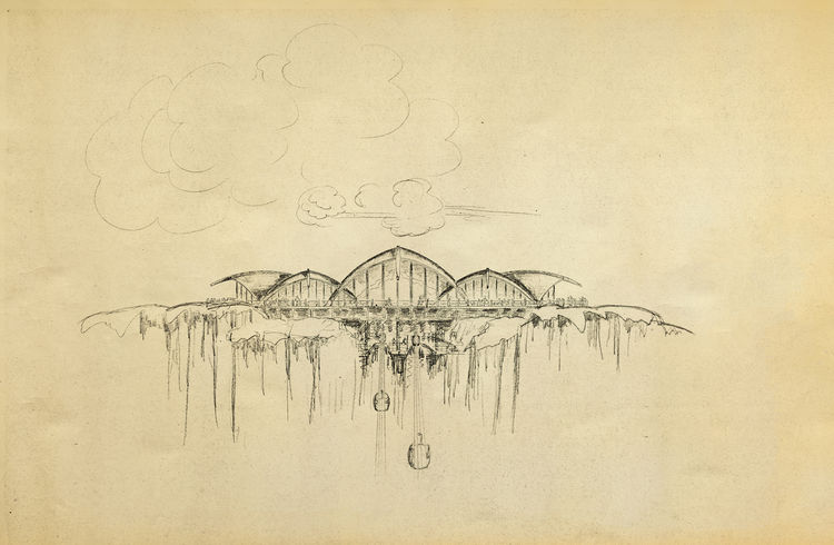 Gesner's drawing of a never-built ski resort for an area known as Mineral King in the Sierra Nevada Mountains, c. 1965.<br /><br /> Credit: Courtesy of Harry Gesner