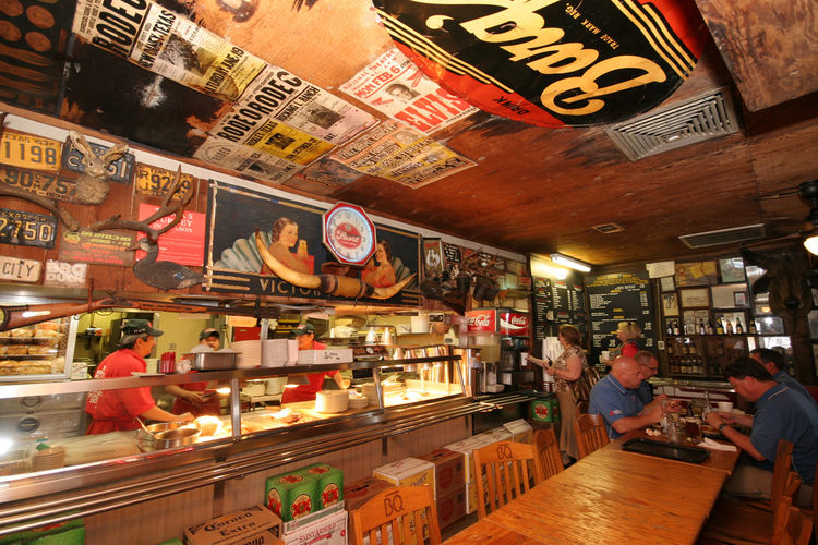 """""""Houston's one of those undiscovered cities when it comes to food,"""" says local architect Brett Zamore, who moved to Houston from New Haven, Connecticut, in 1995. The local barbecue, served up in places like Goode Co. Bar-B-Q (pictured), borrows flavors fr"""