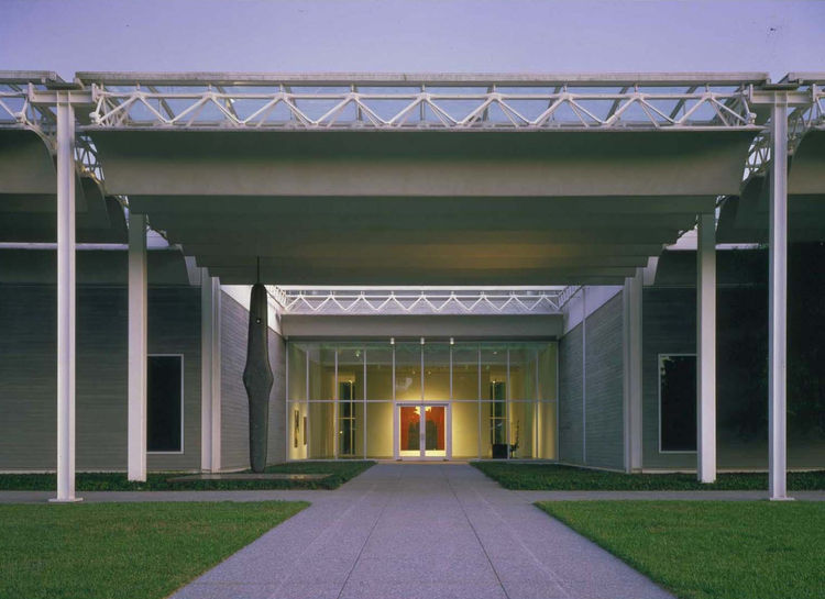 The Menil Collection, located in Houston's Montrose-area museum district, houses the collection of John and Dominique de Menil. The landmark building was designed by Pritzker Prize-winning architect Renzo Piano. Image courtesy of the Greater Houston Conve