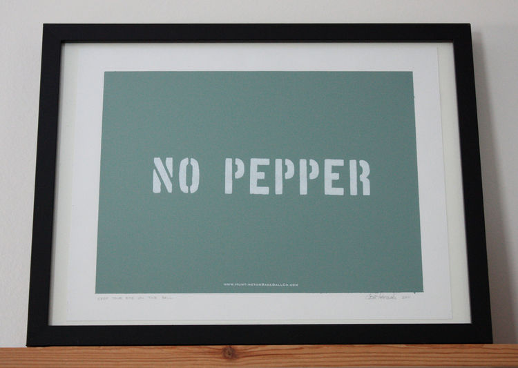 "Though your guests might mistake it as a bit of bland-food propaganda, this 11""x14"" silkscreen is pulled from ballparks the nation over. Pepper is a splendid hitting, pitching, and fielding drill that is on the wane thanks to fussy groundskeepers who want"