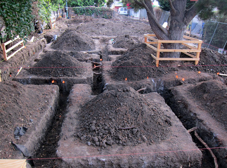 Footing trenches are dug along the lines that were previously marked on the soil. The colored string is tied off on posts that have been precisely placed using survey data.  The orange flags mark tree roots that cut across the footings. Major roots were c