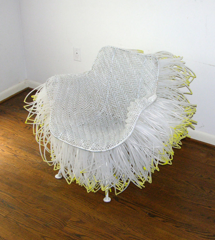 Joel D'Orazio's design work, such as his Sculptura Blow Chair, fusses and plays with recognizable modern design. Here an outdoor chair takes on the feel of a sea anemone, waving in any passing breeze.