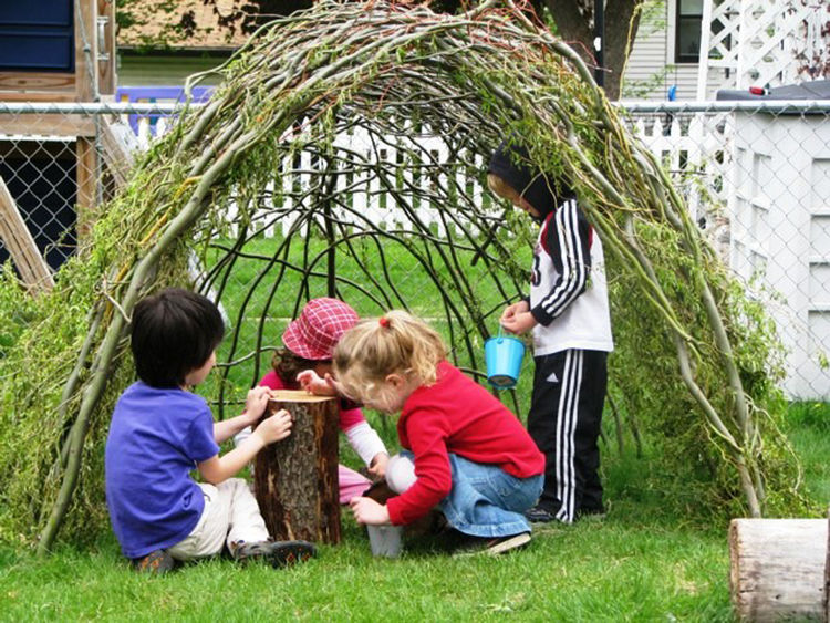 <h3>Step 6:  Make Room for a Den</h3>Places to hide are often a neglected part of the playscape because of parental fears. Just remember that your goal is partial, not total, concealment. There are many options, but be sure to see the den as a less perman