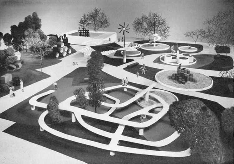 Like Noguchi, filmmaker and graphic designer Saul Bass designed a never-built playscape. But its details, including both concrete forms and a timber climbing mount, show the desire to use both avant-garde forms and natural materials.<br /><br />Image by <