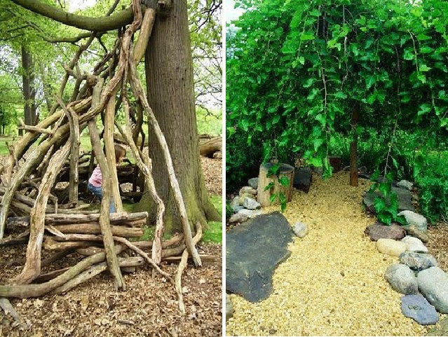 "Use reclaimed logpoles to make a teepee that can be covered with annual vines in summer and burlap in winter, weave willow wands into a hut, or plant a weeping mulberry to form a natural green cave.<br /><br />Photo by Tim Gill of <a href=""http://rethinki"