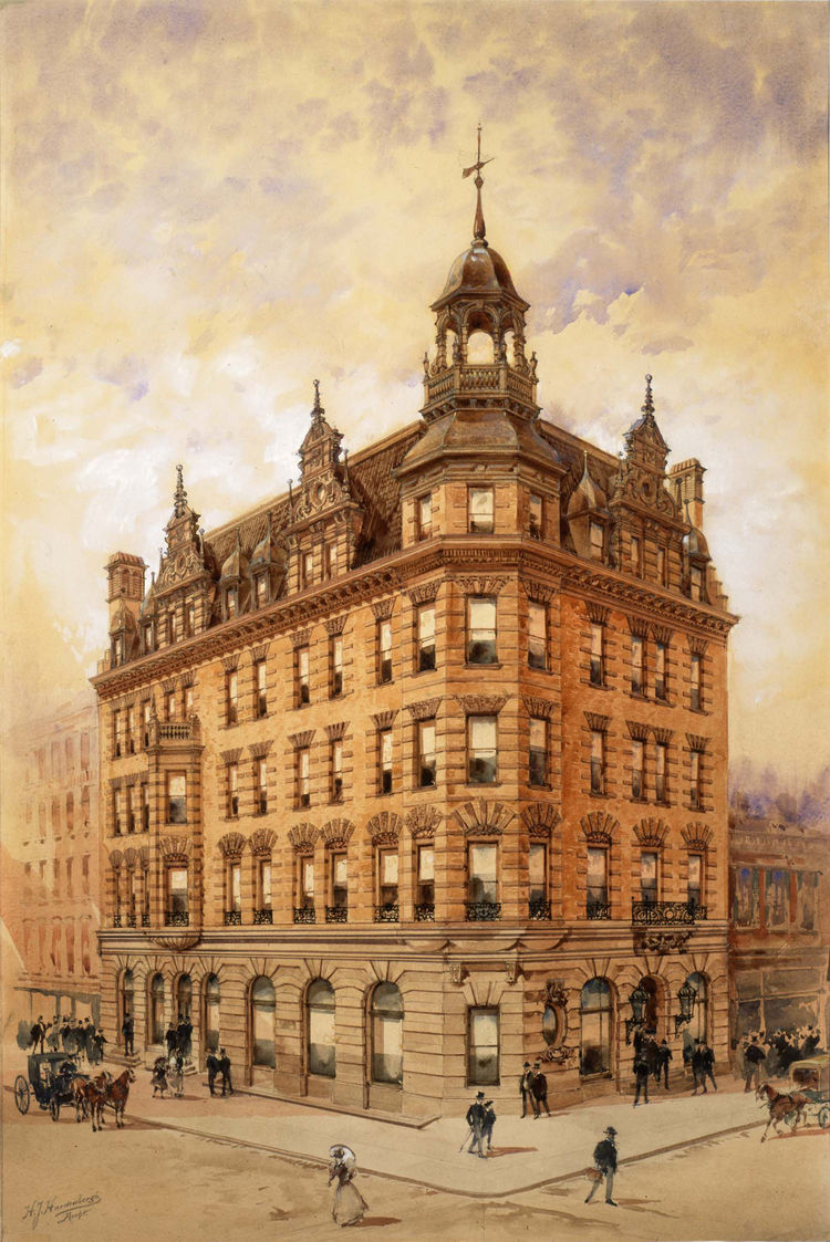"""<i>Apartment House</i> (c. 1890, watercolor and pencil on card), by architect Henry J. Hardenbergh and delineator Hughson Hawley. On view through May 30, 2010, at the Carnegie Museum of Art as part of the <a href=""""http://www.cmoa.org/exhibitions/exhibit.a"""