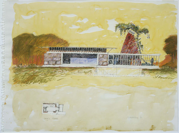 """<i>Lucy's House, Mason's Bend, Alabama</i> (2001, ink, colored pencil, pastel, and watercolor on paper), by Samuel Mockbee. On view through May 30, 2010, at the Carnegie Museum of Art as part of the <a href=""""http://www.cmoa.org/exhibitions/exhibit.asp""""><i"""