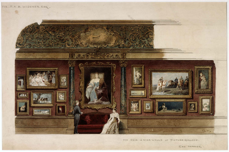 """<i>Picture Gallery in the Home of P.A.B. Widener, Esq., Philadelphia, Pennsylvania</i> (1887, watercolor on paper), by George Herzog. On view through May 30, 2010, at the Carnegie Museum of Art as part of the <a href=""""http://www.cmoa.org/exhibitions/exhib"""