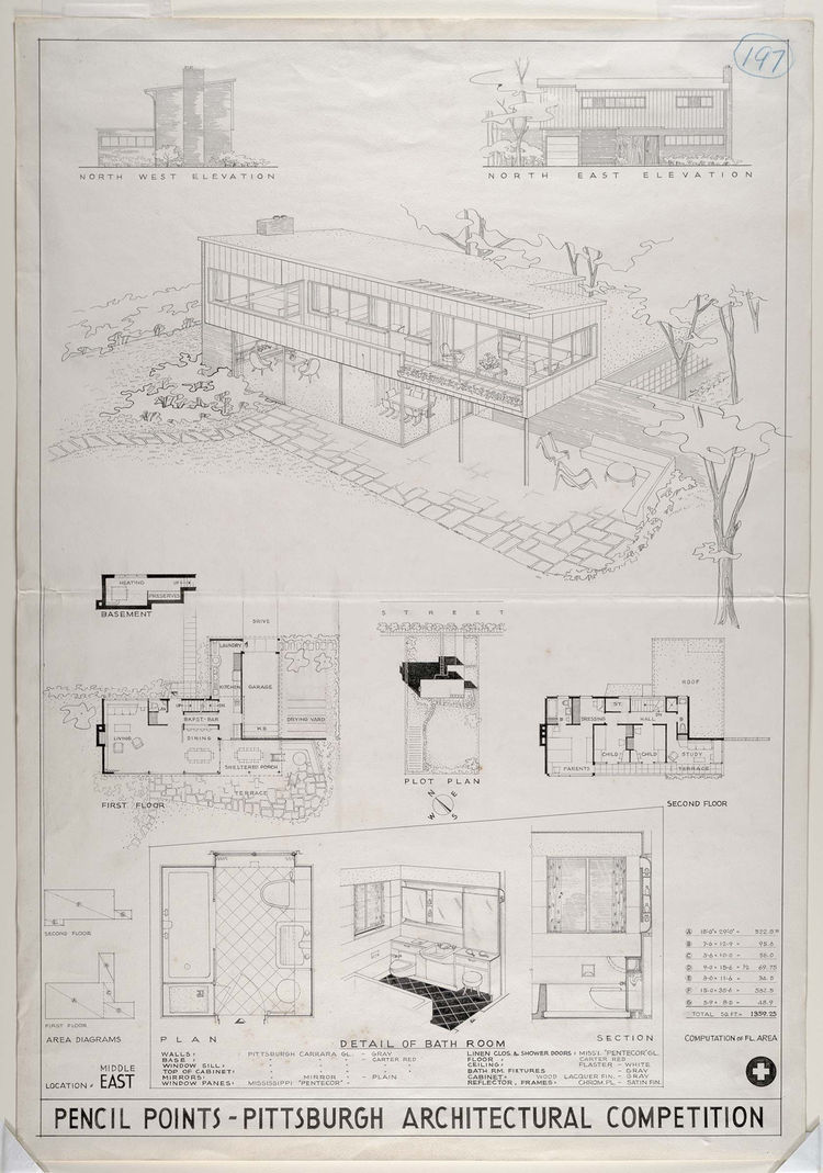 """<i>Submission to """"Pencil Points""""--Pittsburgh Plate Glass Competition for a """"House for G.I. Joe""""</i> (1944-45, ink on paper), by William Lescaze. On view through May 30, 2010, at the Carnegie Museum of Art as part of the <a href=""""http://www.cmoa.org/exhibi"""