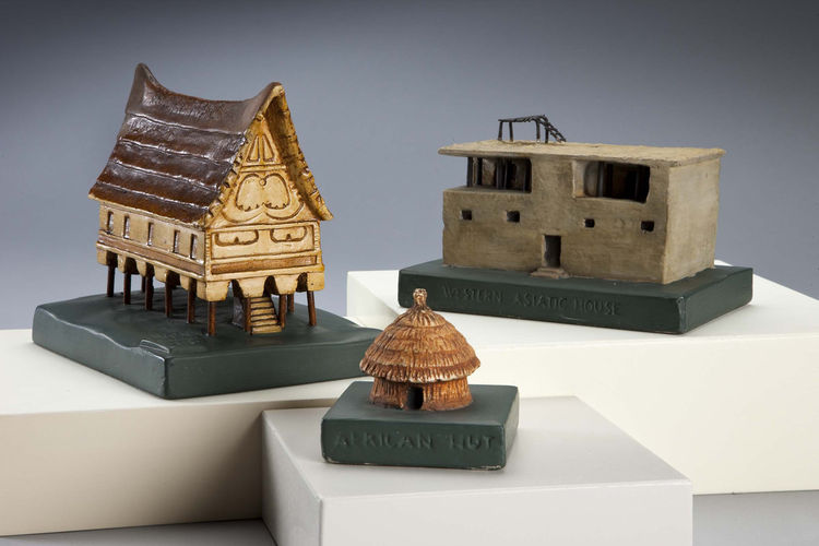 <i>East Indian Dwelling</i>, left; <i>African Beehive House</i>, center; and <i>Western Asiatic House</i>, right, (c. 1930, painted plaster of Paris and metal), by an American architect for the Works Progress Administration. On view through May 30, 2010,