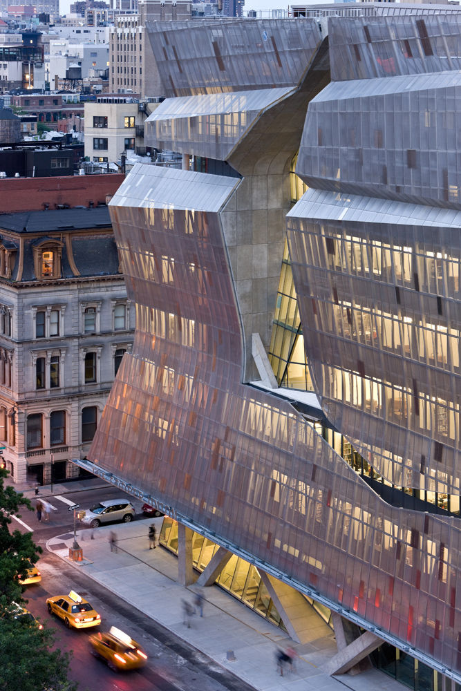 A jagged cut in the screens defines one facade of Morphosis's 41 Cooper Square in New York City. Photo by Iwan Baan.