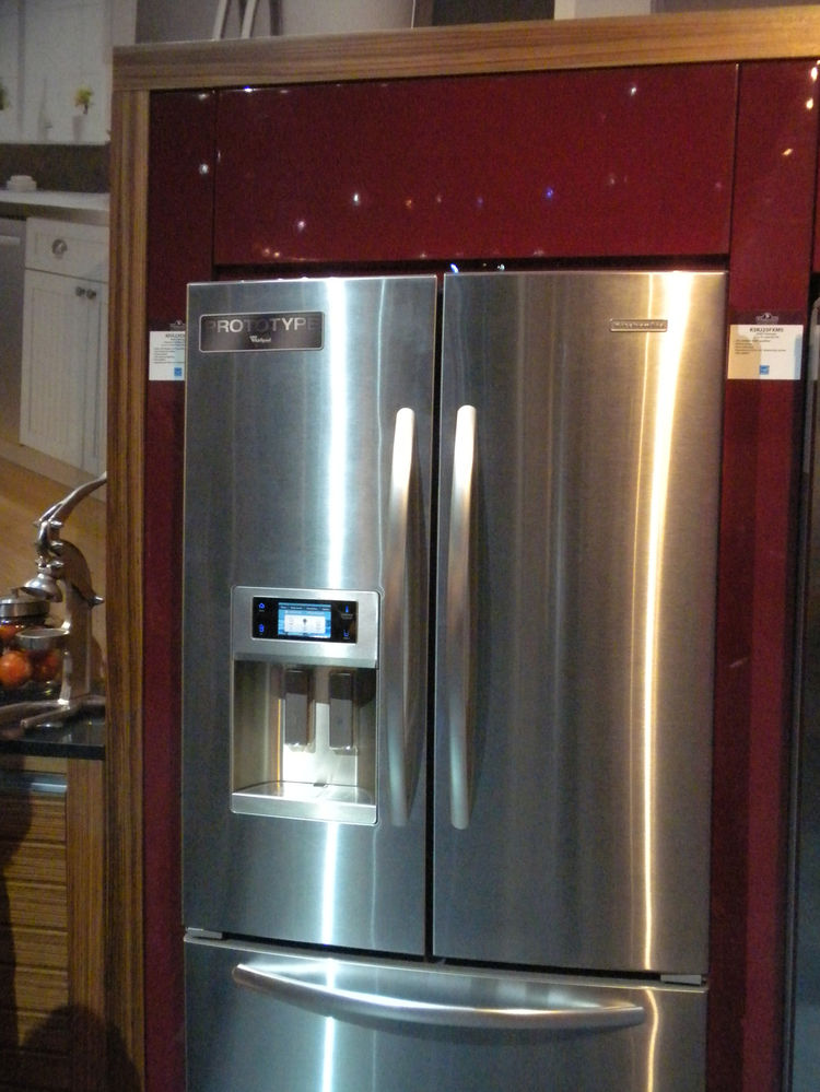"Smart kitchen appliances was a trend seen throughout the floors and another <a href=""http://www.kitchenaid.com"">KitchenAid</a> product that jumped out was a new refrigerator model (still in the works--see the big ""prototype"" label on its door). The electr"