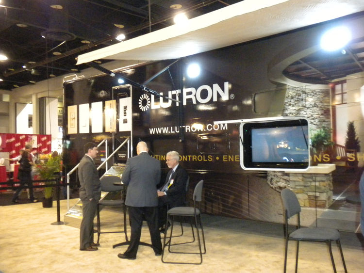 "<a href=""http://www.lutron.com/"">Lutron</a> brought its traveling showroom to the convention center. Inside, the first half featured a display of the company's dimmers, including their latest LED dimmer, the <a href=""http://www.lutron.com/ltr4/home.asp"">V"