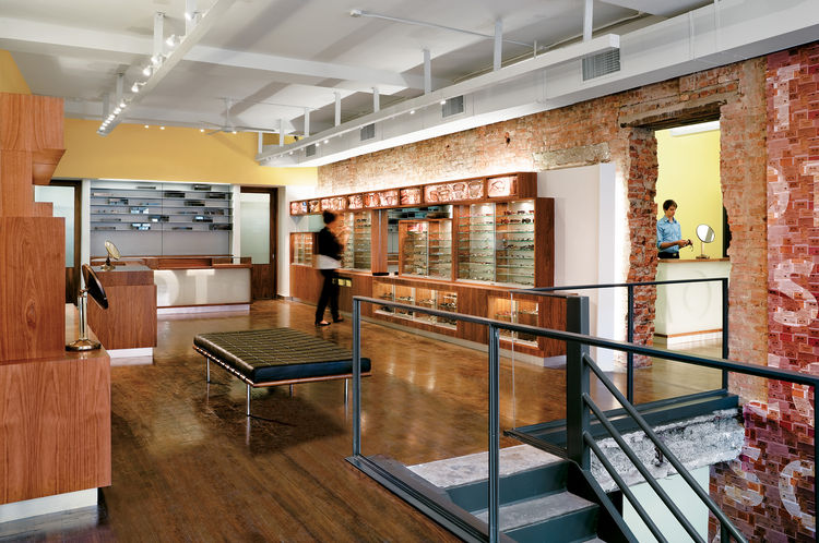 """Moscot Eyewear is a New York institution, and Jaklitsch sought to draw on that heritage while still giving the place a revamped, designed feel. Photograph by <a href=""""http://www.warcholphotography.com/"""">Paul Warchol</a>."""
