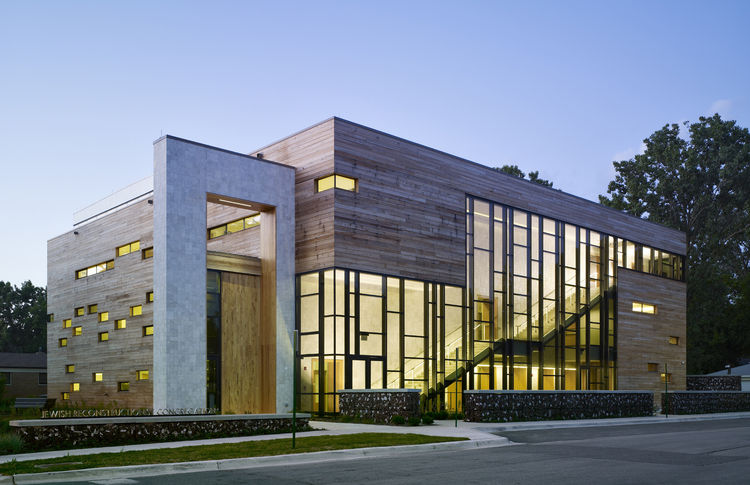 "Jewish Reconstructionist Congregation (exterior view) in Evanston, Illinois, by <a href=""http://www.rbjarchitects.com"">Ross Barney Architects</a>. Photo by Steve Hall, Hedrich Blessing."