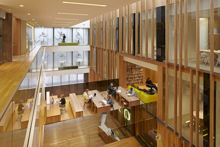 "The John E. Jaqua Academic Center for Student Athletes in Eugene, Oregon. Designed by ZGF Architects LLP. Winner of the 2011 Institute Honor Award for Interior Architecture. Project description: ""The Jaqua Center explores the limits of transparency and co"