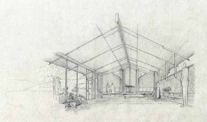 This sketch from 1959 is a perspective of a Fayetteville residence Jones did for William and Marion Orton. Photo courtesy of the Fay Jones Collection, University of Arkansas.