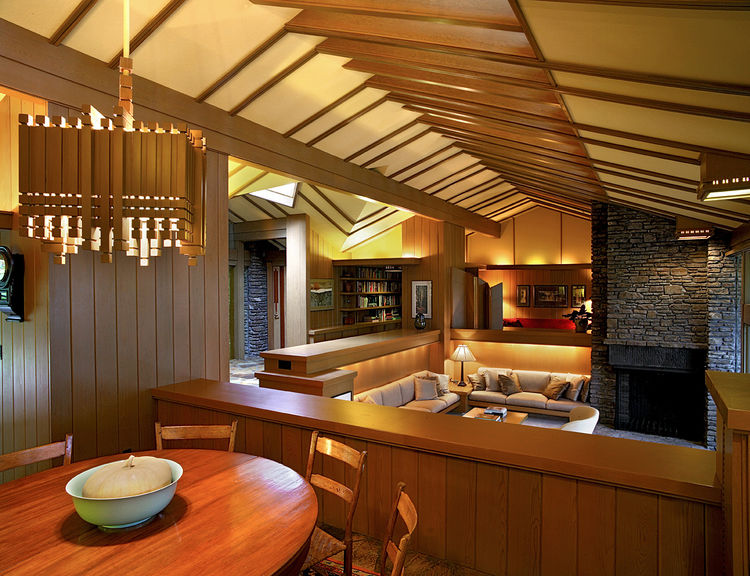 The interior of the Buckley Residence shows Jones' signature love of wooden vaults, and his ability to make even private, domestic space feel quite sacred. Photo by Don Shreve.
