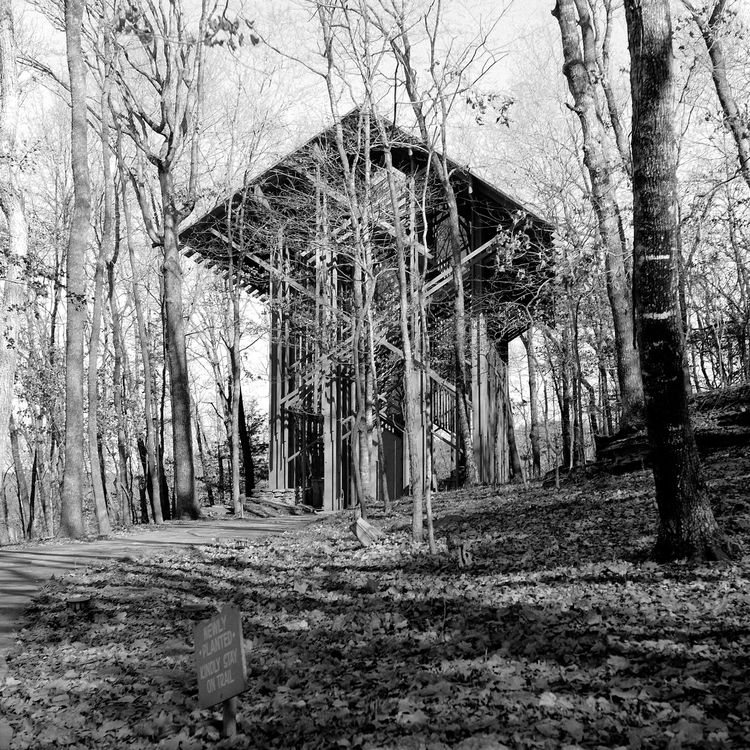 The sculptural, exposed timber lines of Jones' Thorncrown Chapel in Eureka Springs, Arkansas were completed in 1980. Photo by Meghan Duda.