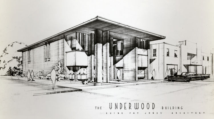 Jonse's 1966 sketch of the Underwood Building in Fayetteville, Arkansas; his office was located on the top floor. Photo courtesy of the Fay Jones Collection, University of Arkansas.