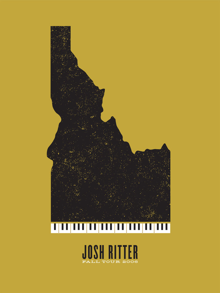 Poster for Josh Ritter (2006) by Jason Munn. Two-color silk screen. 18 x 24 inches. From <i>The Small Stakes: Music Posters</i> published by Chronicle Books.