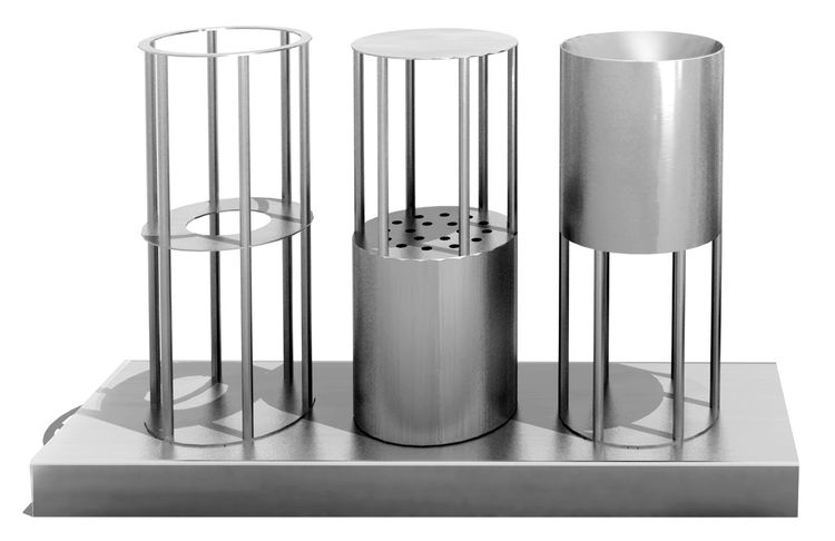 """This Havdalah set is a further expression of what we see in the Kiddush cup, """"contemporary expressions of ancient objects,"""" according to Saitowitz.  <br /><br /> Stanley Saitowitz, Havdalah Set, 2011, nickel, brass and resin, 13 x 3 x 8 inches. Artist ren"""