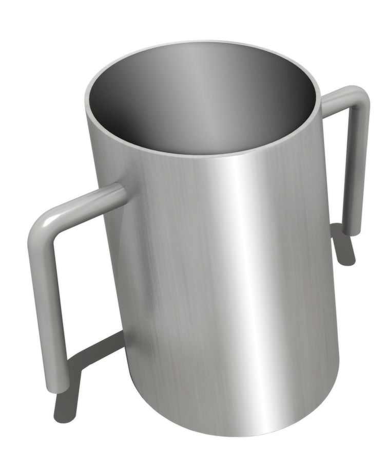 The <i>Netilat Yadayim</i> cup is used for ritual handwashing.  <br /><br /> Stanley Saitowitz, Netilat Yadayim Cup, 2011, nickel and resin, 3 x 3 x 4 inches. Artist rendering. Fabrication by Dupliform Casting Company. Courtesy of the artist.
